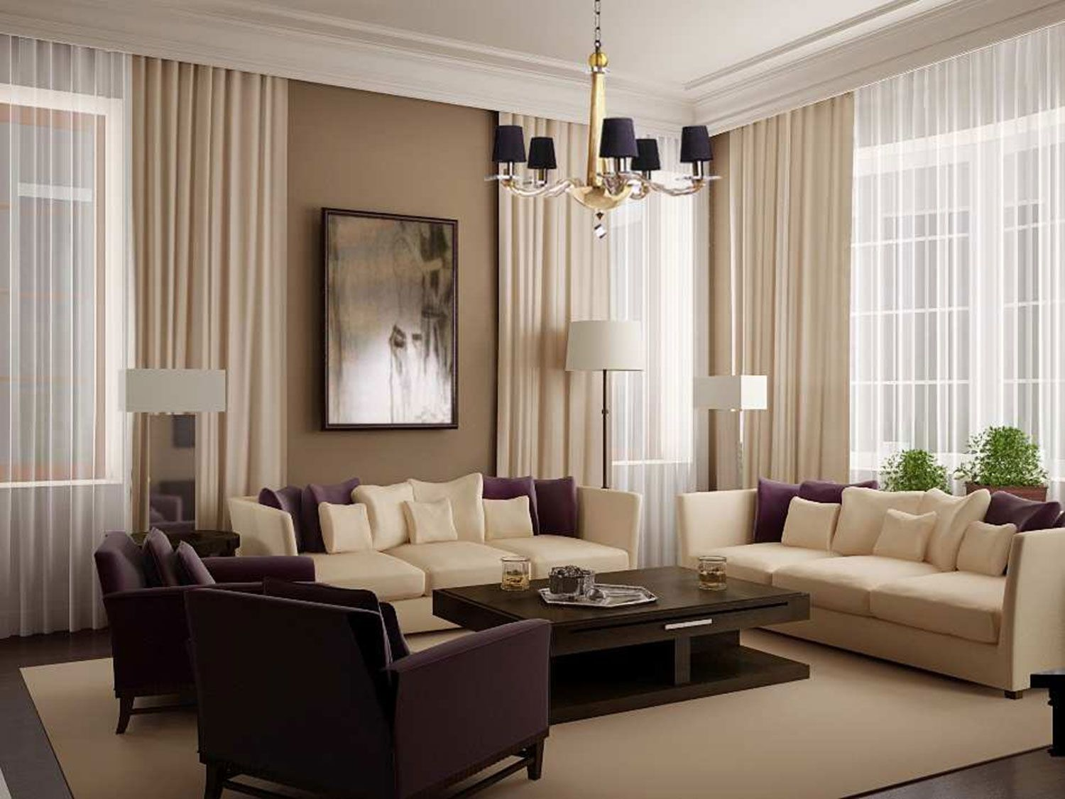 Amusing White Living Room Curtains With Cream And Dark Brown Sofa Gl Table On The Soft Rug Also Furnitured Black Chandelier Lighting Decoration