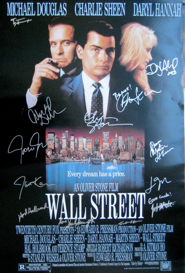 Wall Street 1987 Original 27x40 Movie Poster Cast Signed By