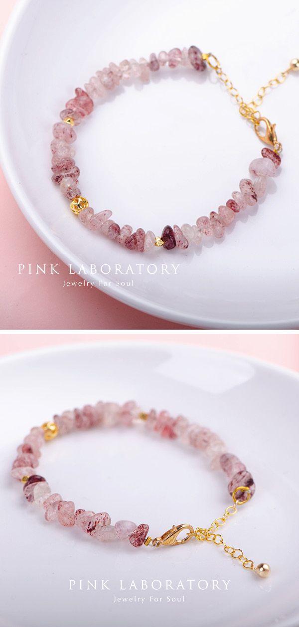 Strawberry Rose quartz Gold Bracelet, Raw Crystal Bracelet, bridesmaids Bracelet, Gemstone Jewelry , Healing Crystal Bracelet for women #gemstonejewelry