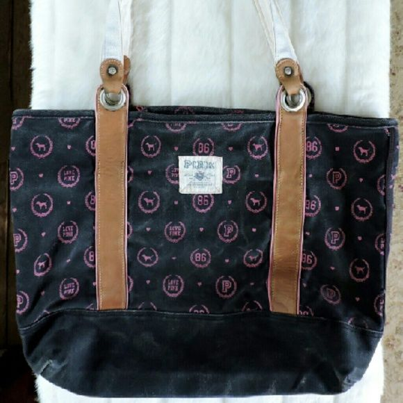 """Victorias Secret PINK Large Tote PINK Large Tote. Has minor wear. Still has A lot of life left! Approx measurements laying flat 17"""" tall (not including straps) 19"""" Wide with 11"""" Straps. Small zipper pocket on inside. Victoria's Secret Bags Totes"""