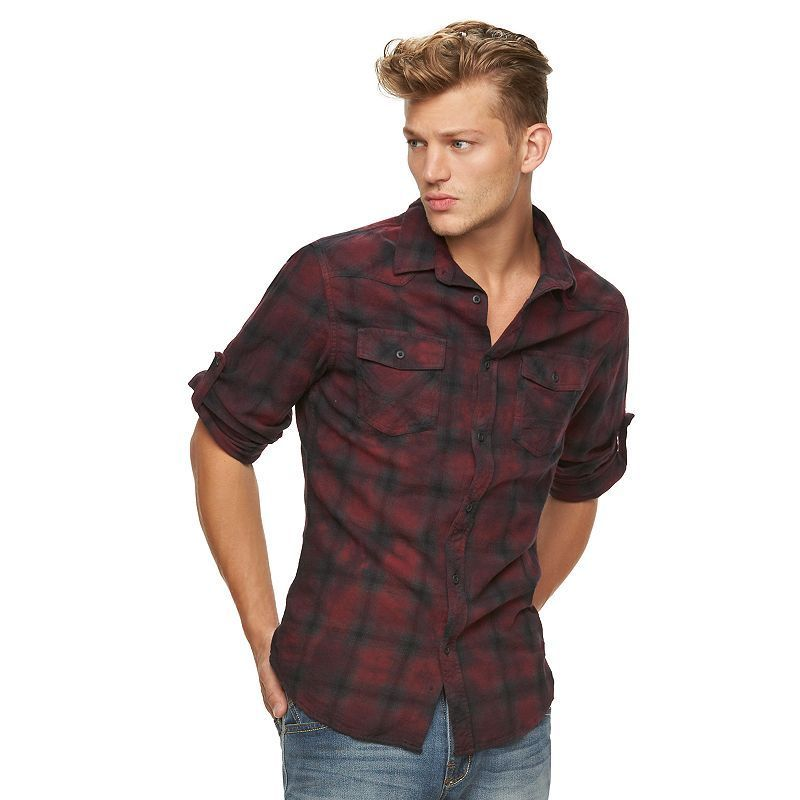 Men's Rock & Republic Plaid Flannel Button-Down Shirt, Size: