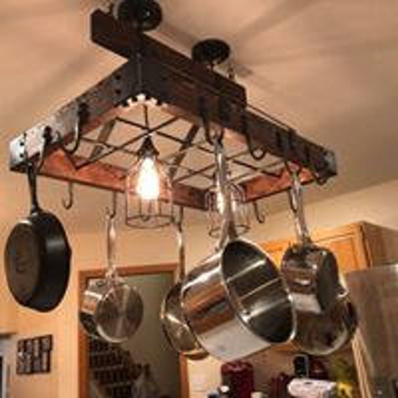 Forged Industrial Themed Hanging Pot Rack Etsy In 2021 Hanging Pot Rack Pot Rack Pot Rack Hanging