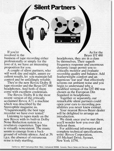1972 ReVox A77 reel to reel tape recorder ad in the