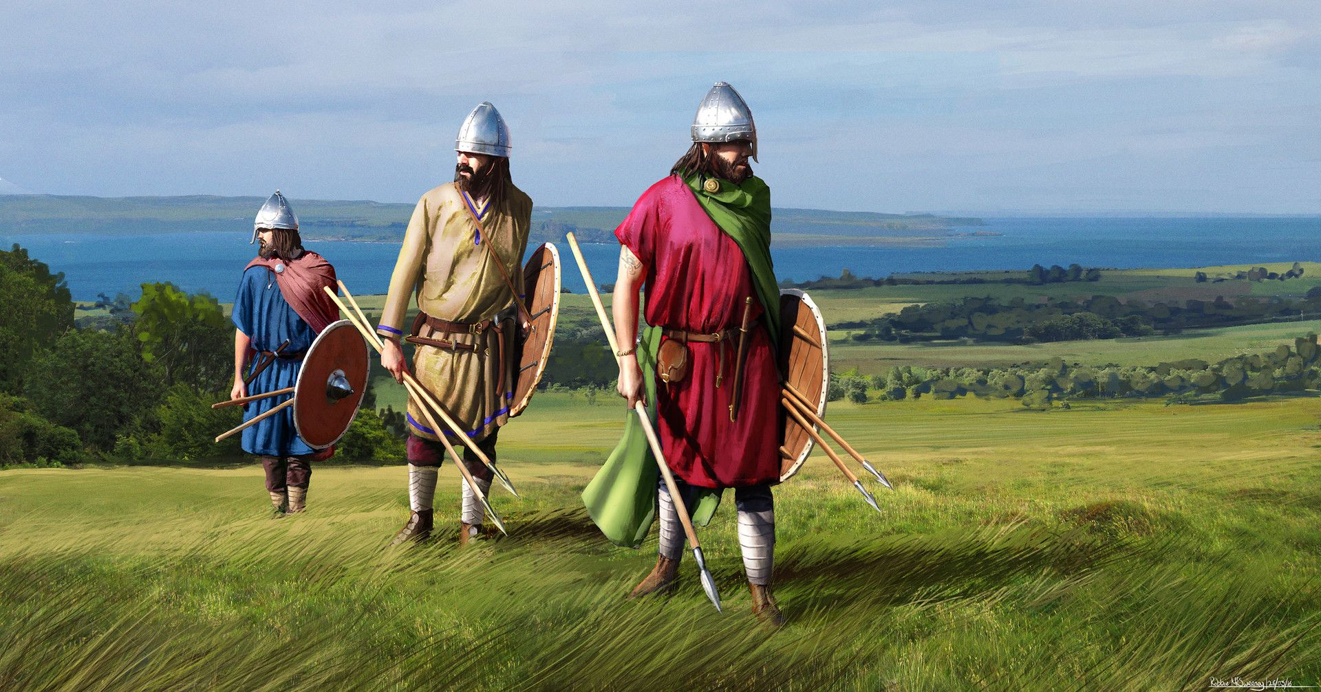 A few Anglo-Saxons scouting the coast of Britannia