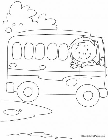 The Bus Driver Says Ok Tata Bye Bye Coloring Pages Download