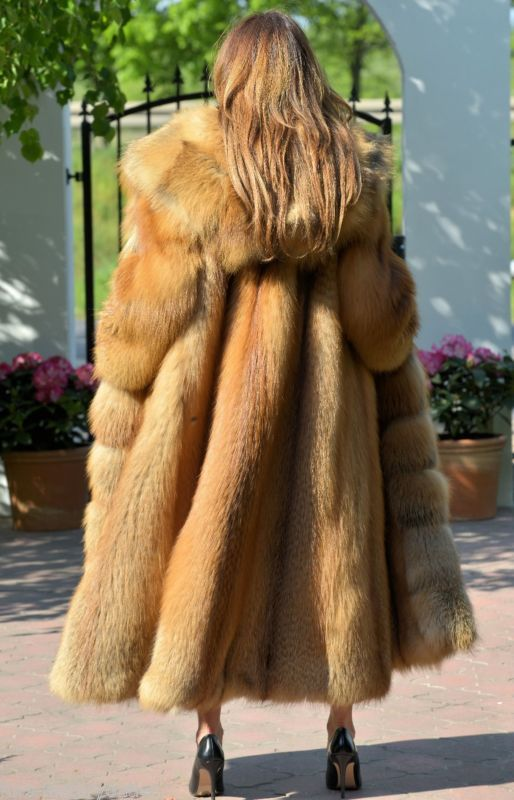 Details about NEW FIRE GOLD FOX LONG FUR COAT HOOD CLAS OF ...