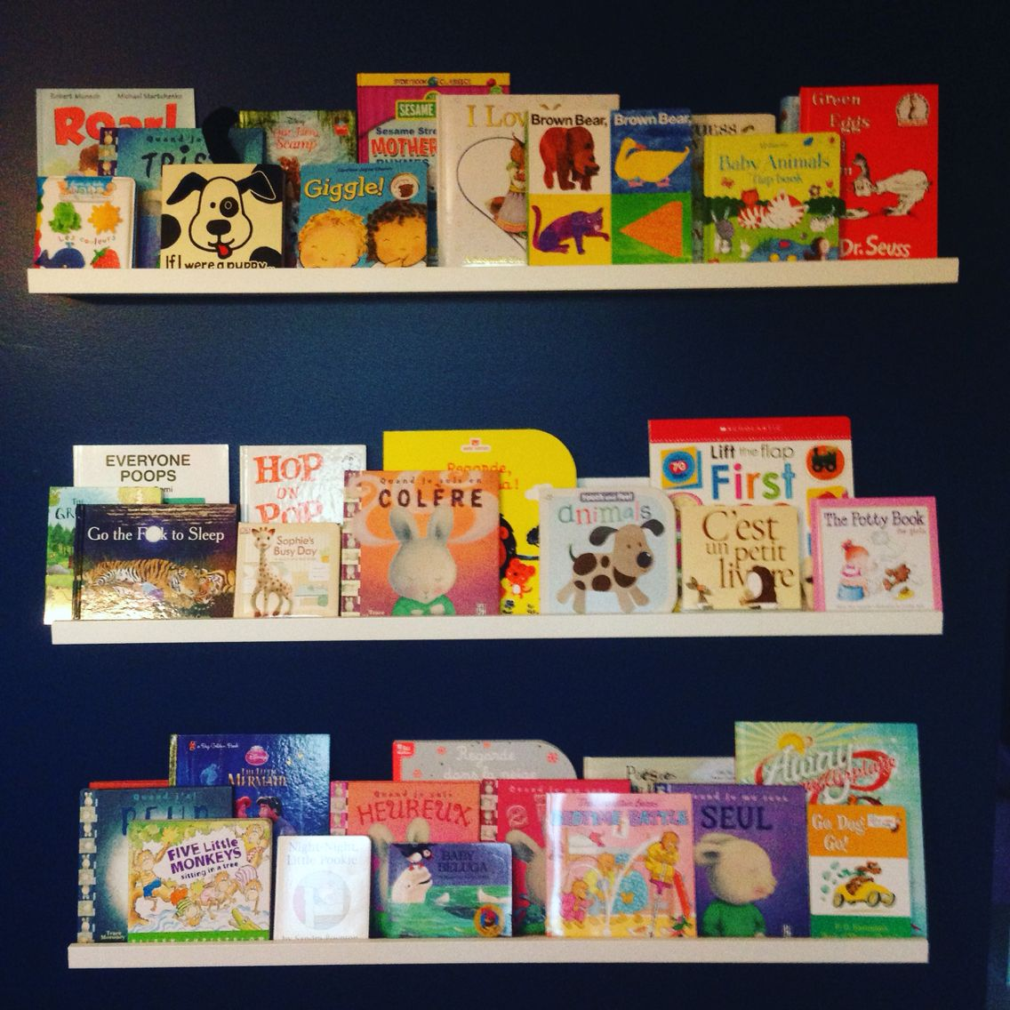 we used ikea mosslanda picture ledge to display all of ellie s books rh pinterest com