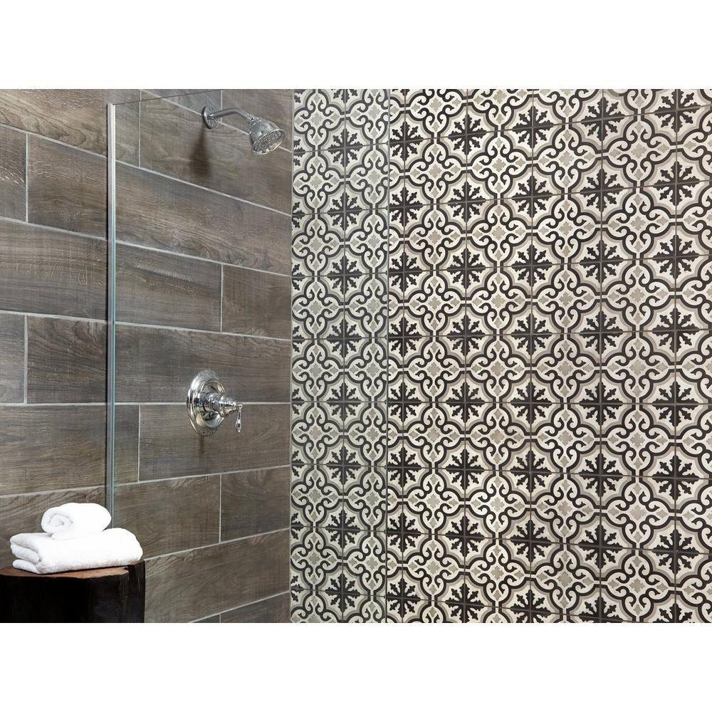 Equilibrio Black Encaustic Cement Tile Encaustic Cement Tile Wood Look Tile Cement Tile