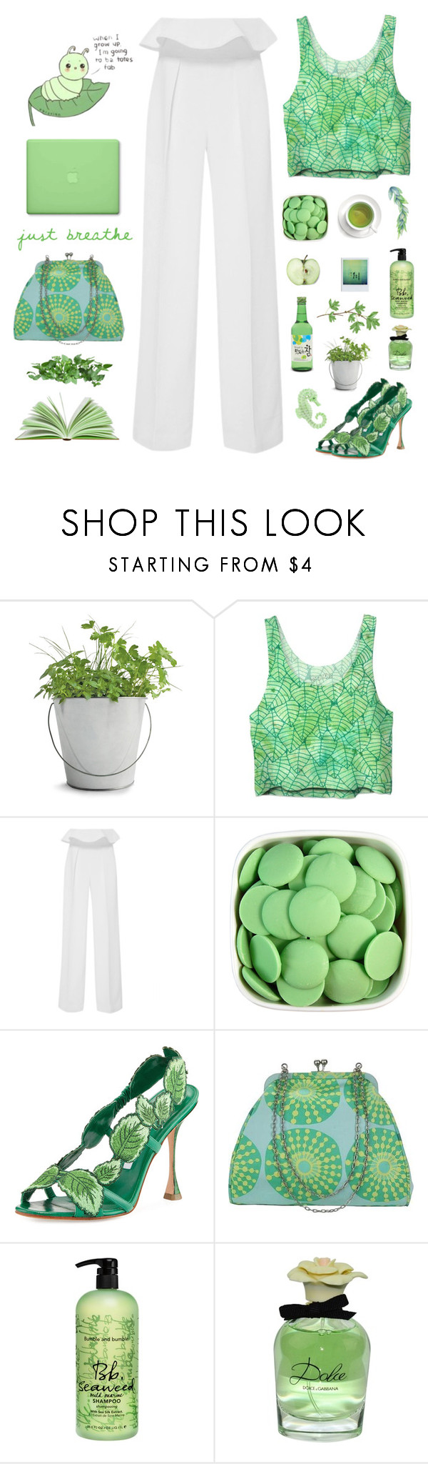 """""""Let me be cool and breezy like a soju"""" by kwonrena ❤ liked on Polyvore featuring Potting Shed Creations, Leal Daccarett, Manolo Blahnik, Amy Butler, Bumble and bumble, Dolce&Gabbana and MAC Cosmetics"""