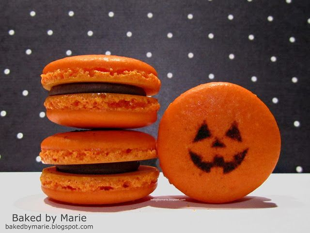 Baked by Marie: Halloween Macarons w/instructions for stenciling face. #halloweenmacarons Baked by Marie: Halloween Macarons w/instructions for stenciling face. #halloweenmacarons