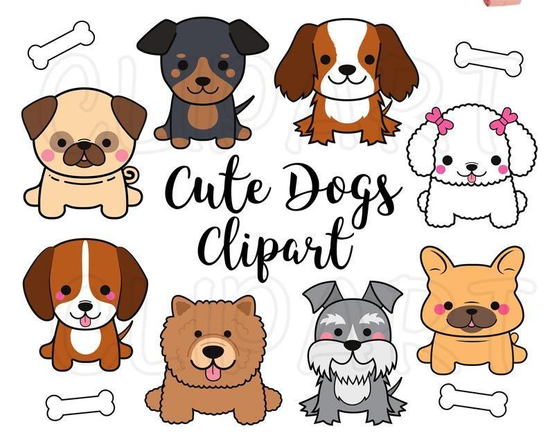 Dogs Clipart Dogs Clip Art Cute Puppy Clipart Kawaii Dogs Clipart Pug Clipart French Bull Dog Clipart Png Svg Commercial Use Puppy Clipart Dog Clip Art Cat Clipart