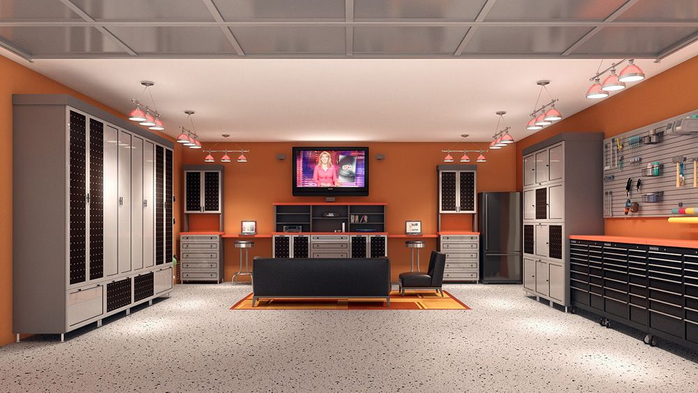 Nice Garage Man Cave And Still Room For The Car Man Cave Basement Man Cave Home Bar Ultimate Man Cave