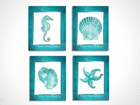Teal And White Bathroom Wall Art Turquoise Teal White Etsy Seashell Wall Art Teal Wall Art Starfish Art
