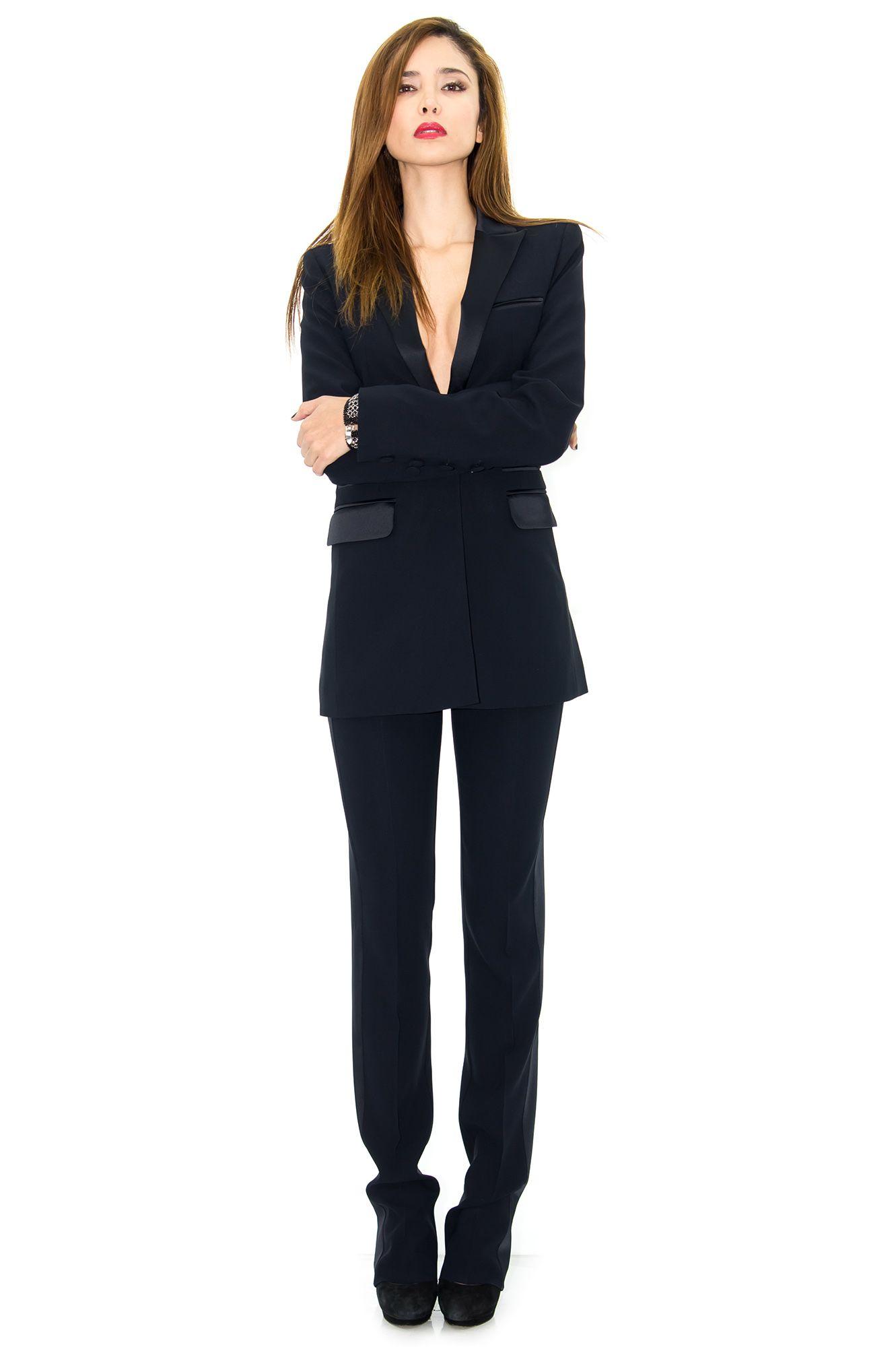 2e9253e3105ab8 Veste de smoking femme, veste longue bleu marine, stefanie renoma -  Stefanie Renoma