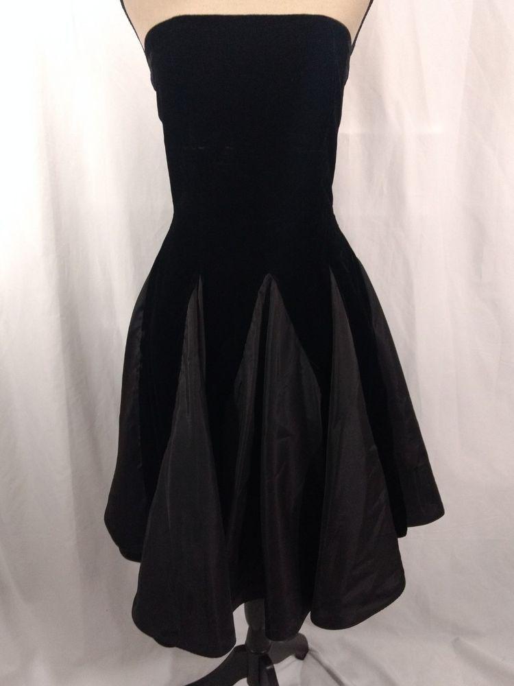 c0f65423c3 Vtg 80s Prom Dress Pantagis Black Velvet Strapless Full Skirt Godets Union  Label