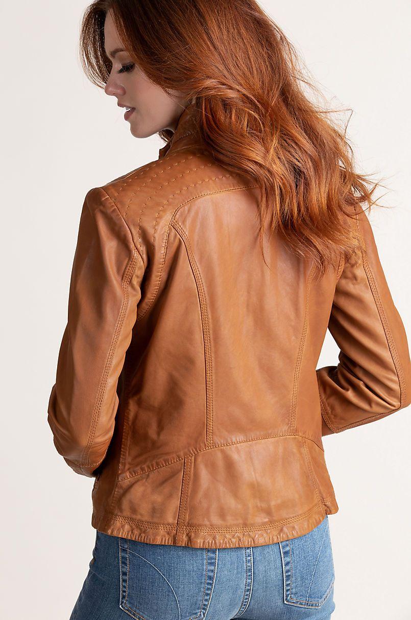Azura Washed Lambskin Leather Jacket Overland (With