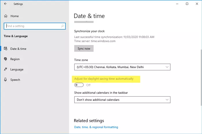 Adjust For Daylight Saving Time Automatically Is Grayed Out In Windows 10 Daylight Savings Time Daylight Savings Daylight