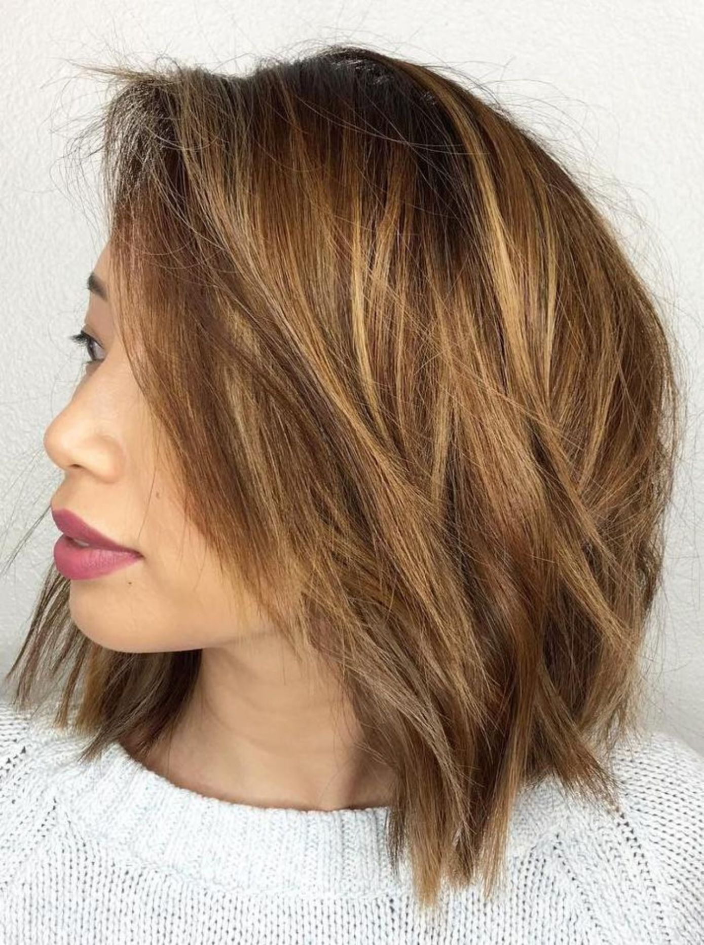 Long Layered Piecy Chunky Chin Length Bob Love It Short Hairstyles For Thick Hair Thick Hair Styles Hair Styles