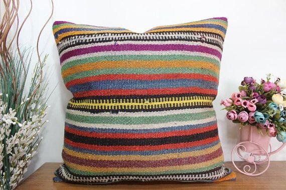 kilim pillow 24X24 floor cushion striped pillow floor kilim pillow ...