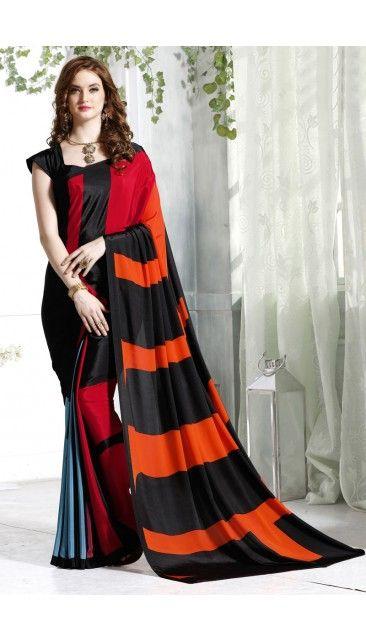 9cd92f6ce6 Stylish Black And Orange Crepe Saree With Crepe Blouse - DMV12018 ...