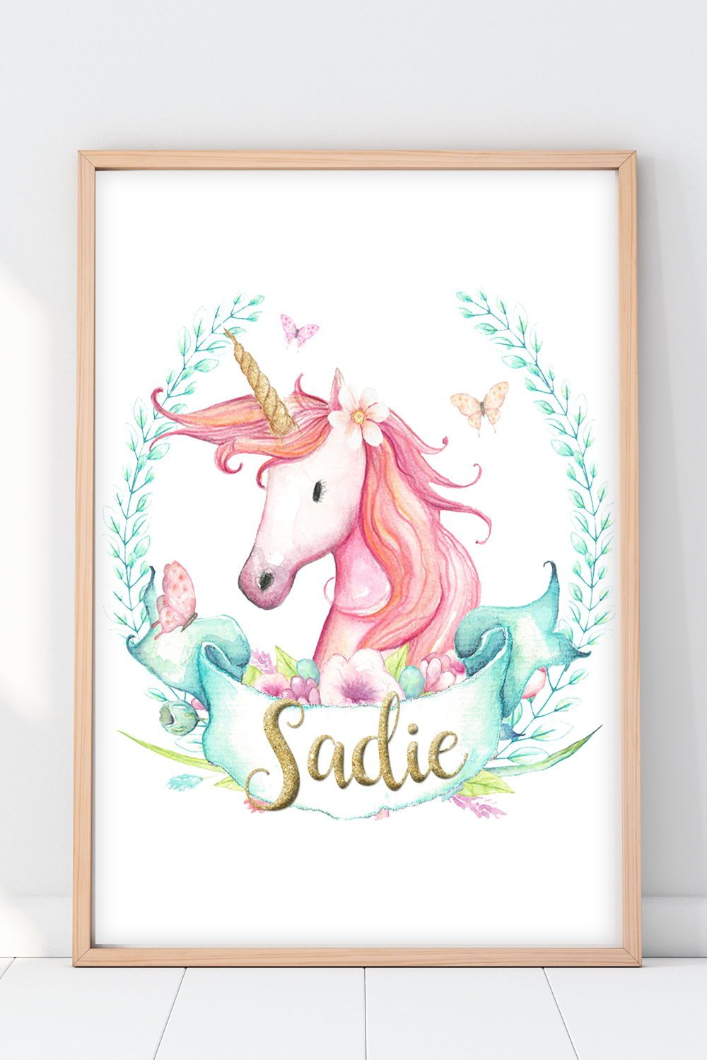Personalised Unicorn Horn Print Picture Christening Birth Gift Nursery Wall Art