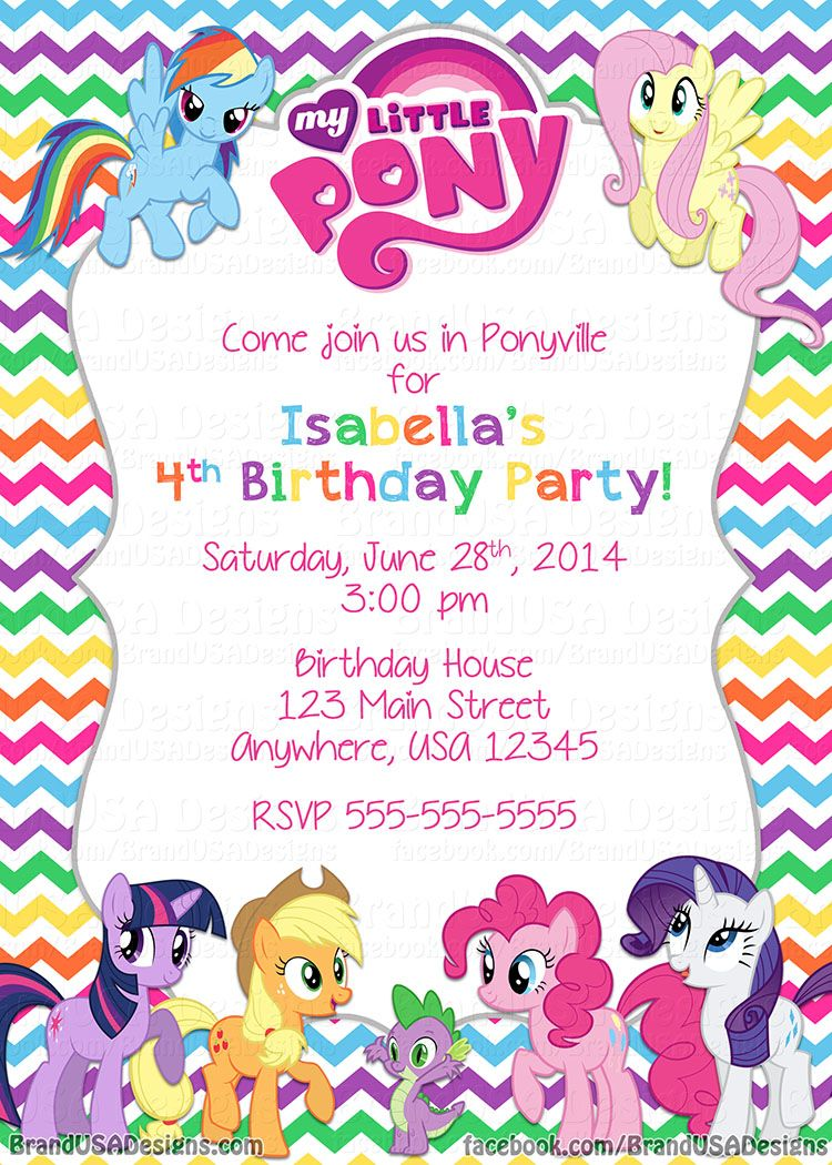 My Little Pony birthday invitations | MLP party | Pinterest | Pony ...