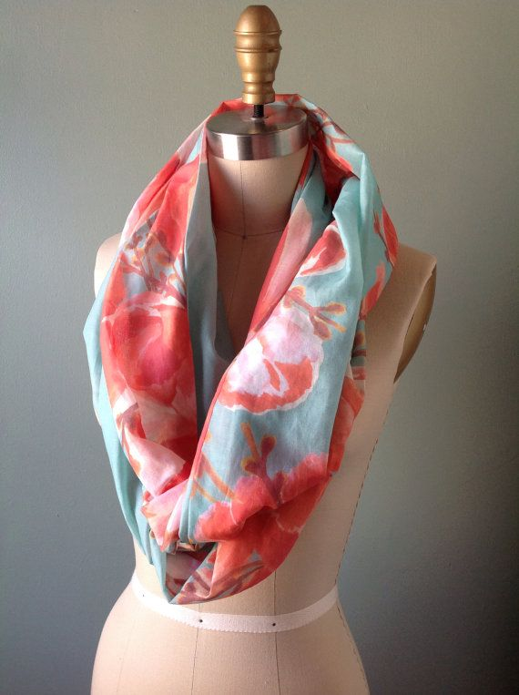 Bright Floral Infinity Scarf by lylece on Etsy - I have lots of cool color scarves, but nothing in warm colors!