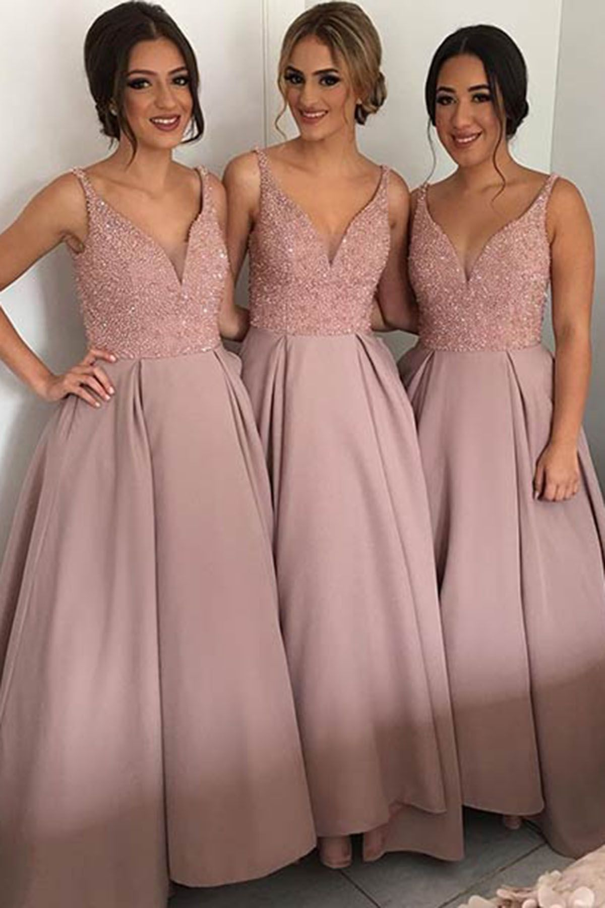 Cute blush pink lace satin prom dress with straps, bridesmaid dress ...
