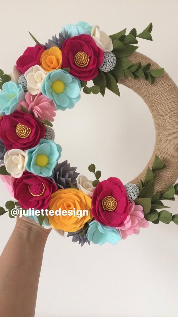 Photo of Spring Wreath, Easter Wreath, Summer Wreath, Felt Wreath, Felt Easter Wreath,  Wreaths, Wreath Summer, Wreath Pink