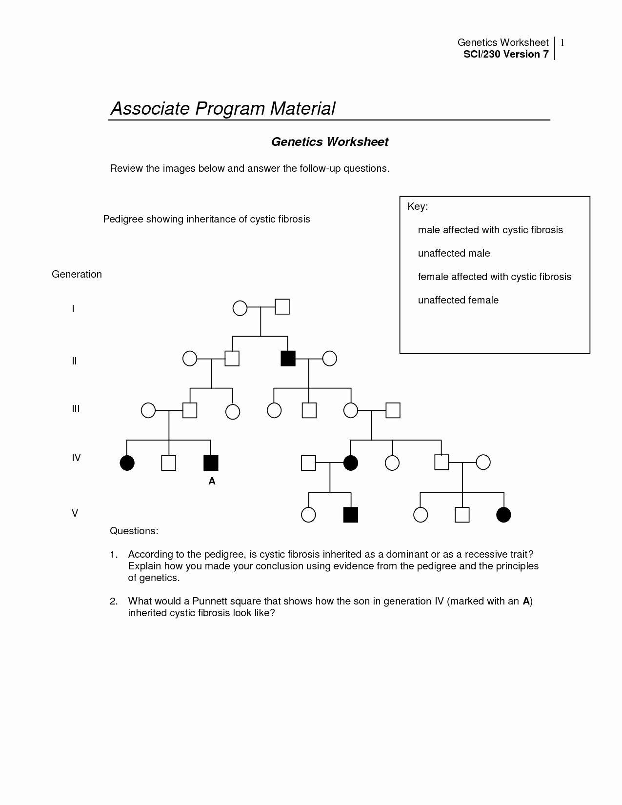 Genetics Pedigree Worksheet Answers Awesome 14 Best Of