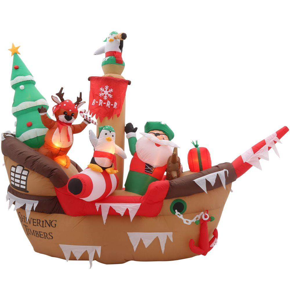 home accents holiday 8 ft h inflatable giant christmas pirate ship scene - Inflatable Outdoor Christmas Decorations