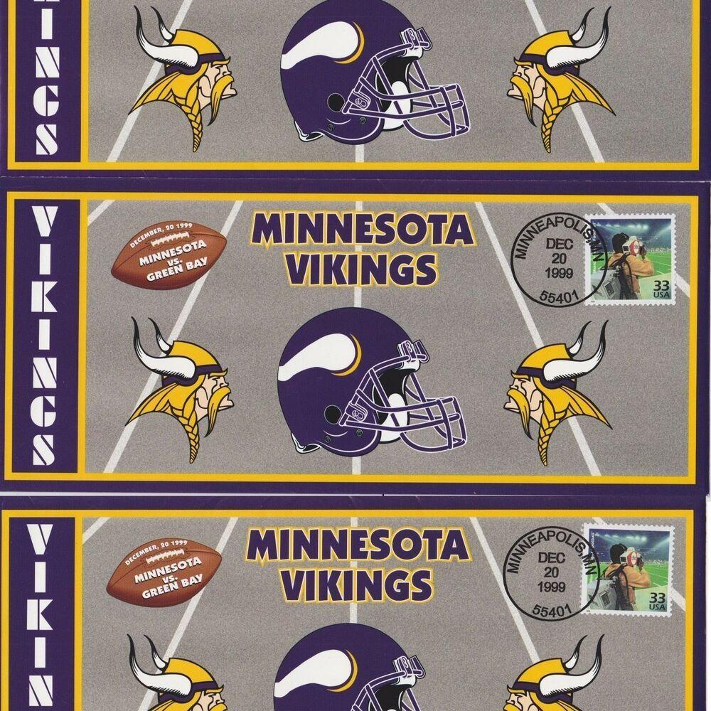 3 Three 1999 Minnesota Vikings Green Bay Packers Monday Night Football Usps Fdc In 2020 Minnesota Vikings Monday Night Football Green Bay Packers Shirts