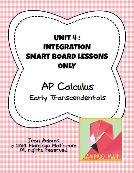 This bundled unit contains thirteen SmartBoard lessons with slide handouts and a homework assignment for Unit 4: Integration to prepare your AP Calculus students.