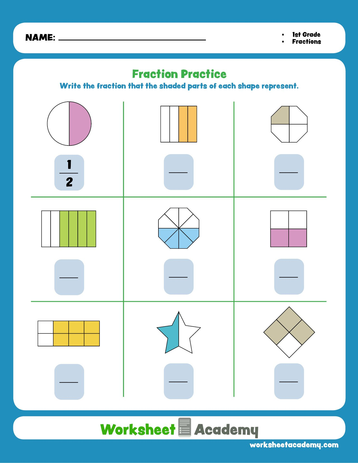 Fraction Practice (With images) First grade math