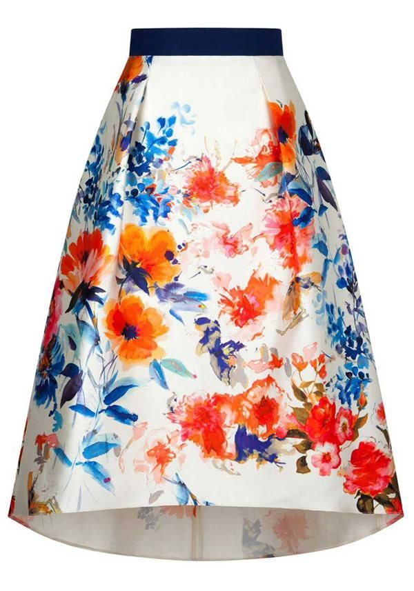 Fee G Brushstroke Floral Print Dip Hem Midi Skirt, Multi-Coloured ...