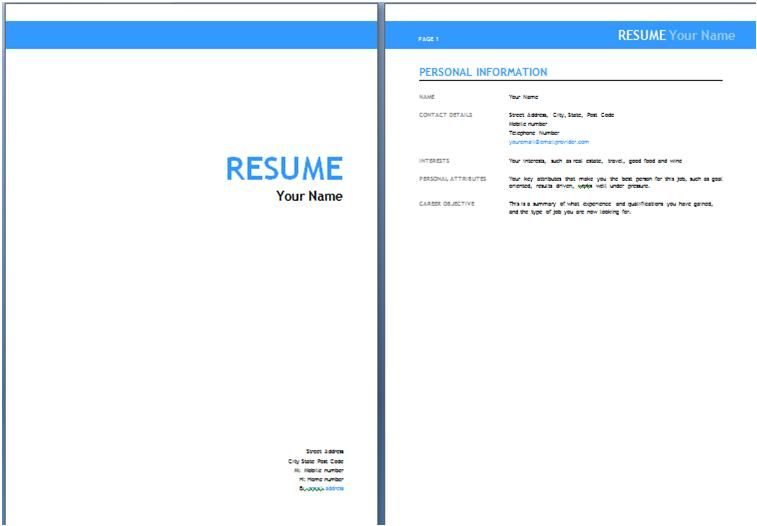 resume cover page template letter sample fax sheet documents word pdf - Cover Page For Resume