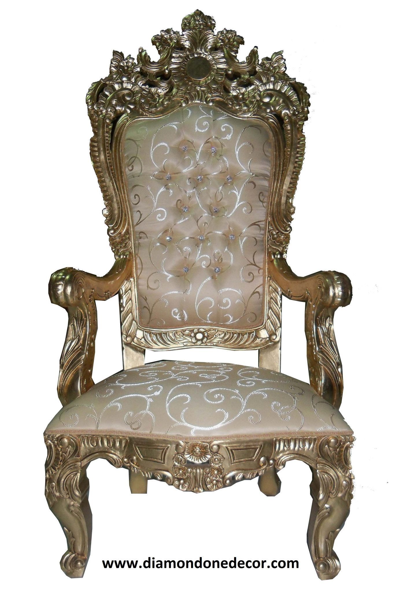 Exquisite Mahogany Hand Carved Louis Xvi Baroque French Reproduction Throne Chair With Gold Leaf Finish