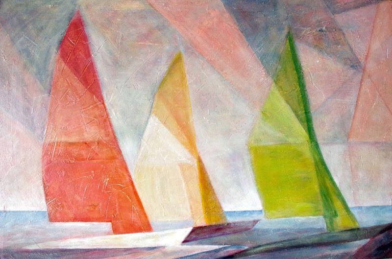 Acrylbild Abstrakt Struktur Segelboote Meer Malen Mit