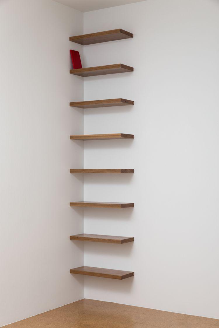 Librero en esquina rojo corner bookshelf red 2014 - Madera para estantes ...
