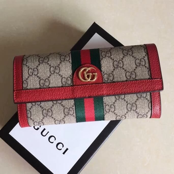 f66167d1b43 Gucci Ophidia GG Continental Wallet 523153 Red 2018