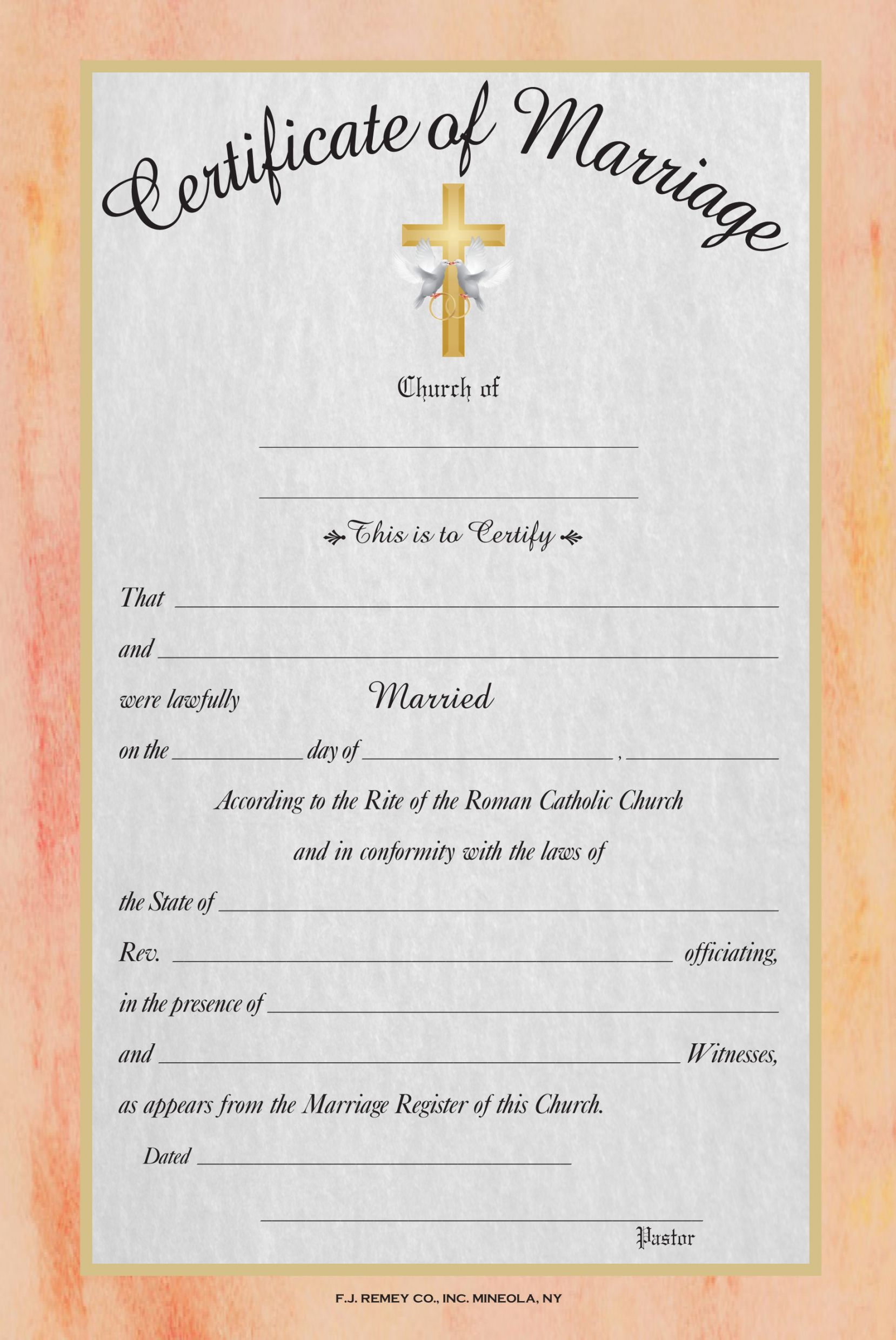 Printable Marriage Certificate Full Color Catholic Marriage
