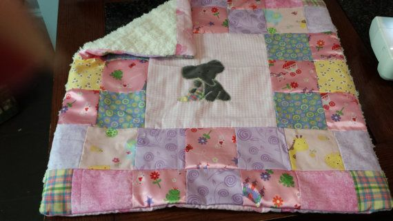 Baby Girl Stroller Quilt with Elephant by SewSaraCustomArt on Etsy, $55.00
