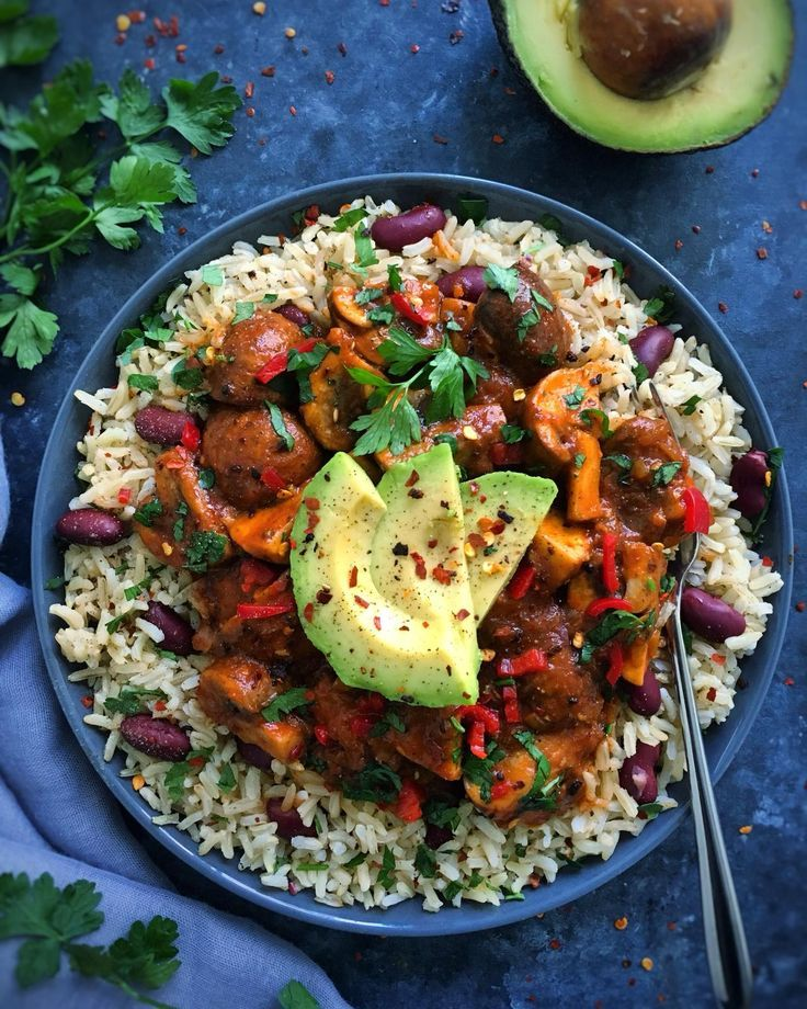 Coconut Rice And Peas With Jerk Mushrooms