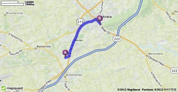 Driving Directions From 64 Cocalico Creek Rd Ephrata Pennsylvania 17522 To 380 E Main St Ephrata Pennsylvania 17522 Mapq Driving Directions Ephrata Maine