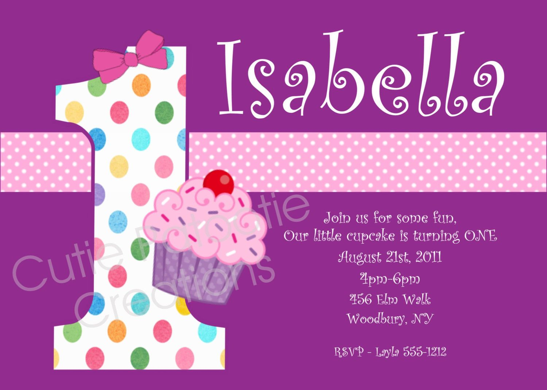 Cupcake Birthday Invitation - Printable or Printed - Cupcake 1st ...