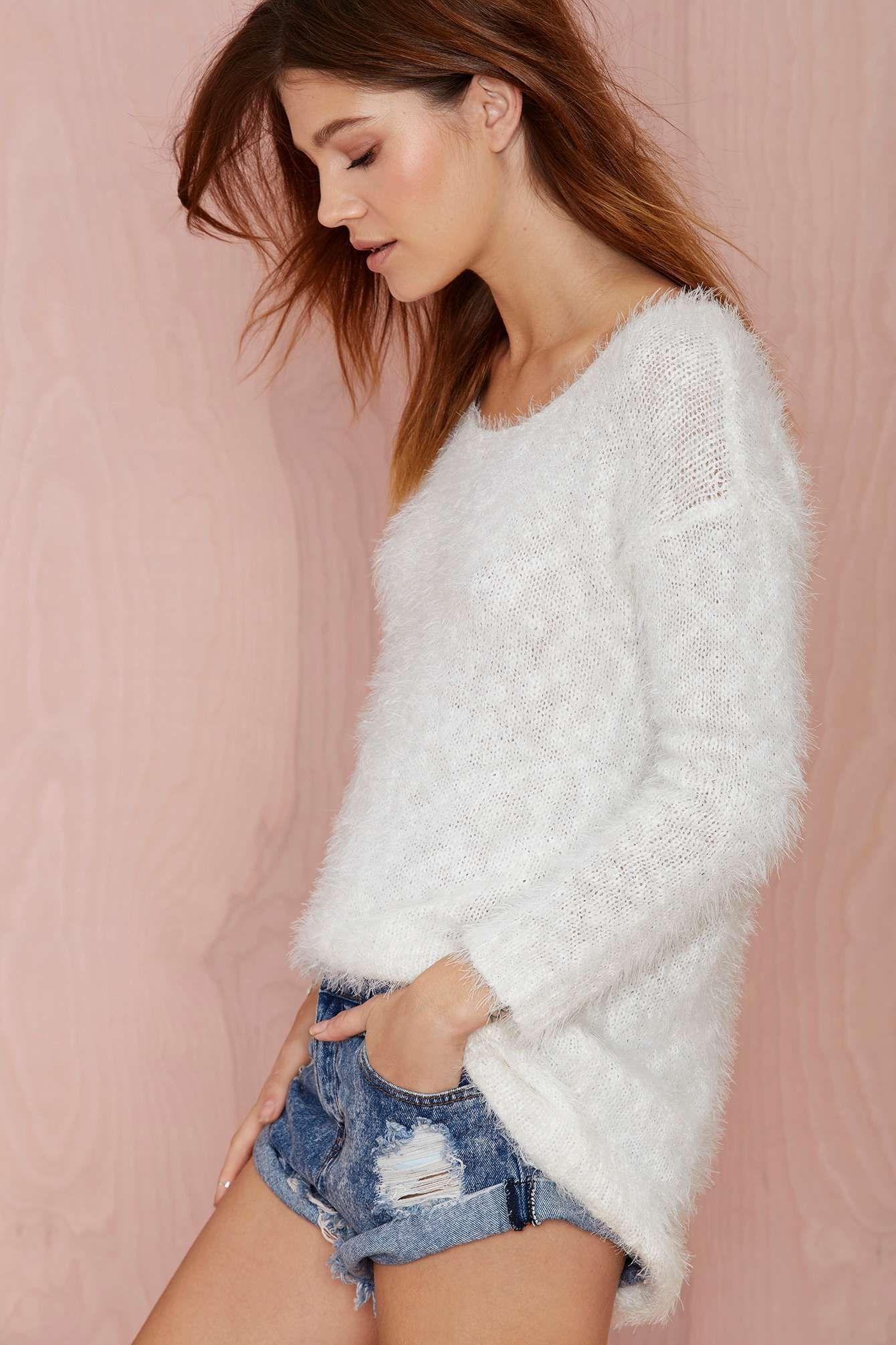 Winter white scoop neck sweater