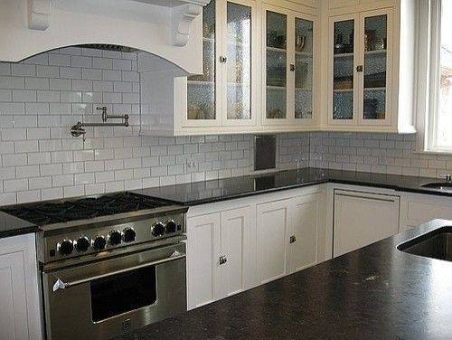 Obsessed with soapstone countertops and white subway tile back ... on