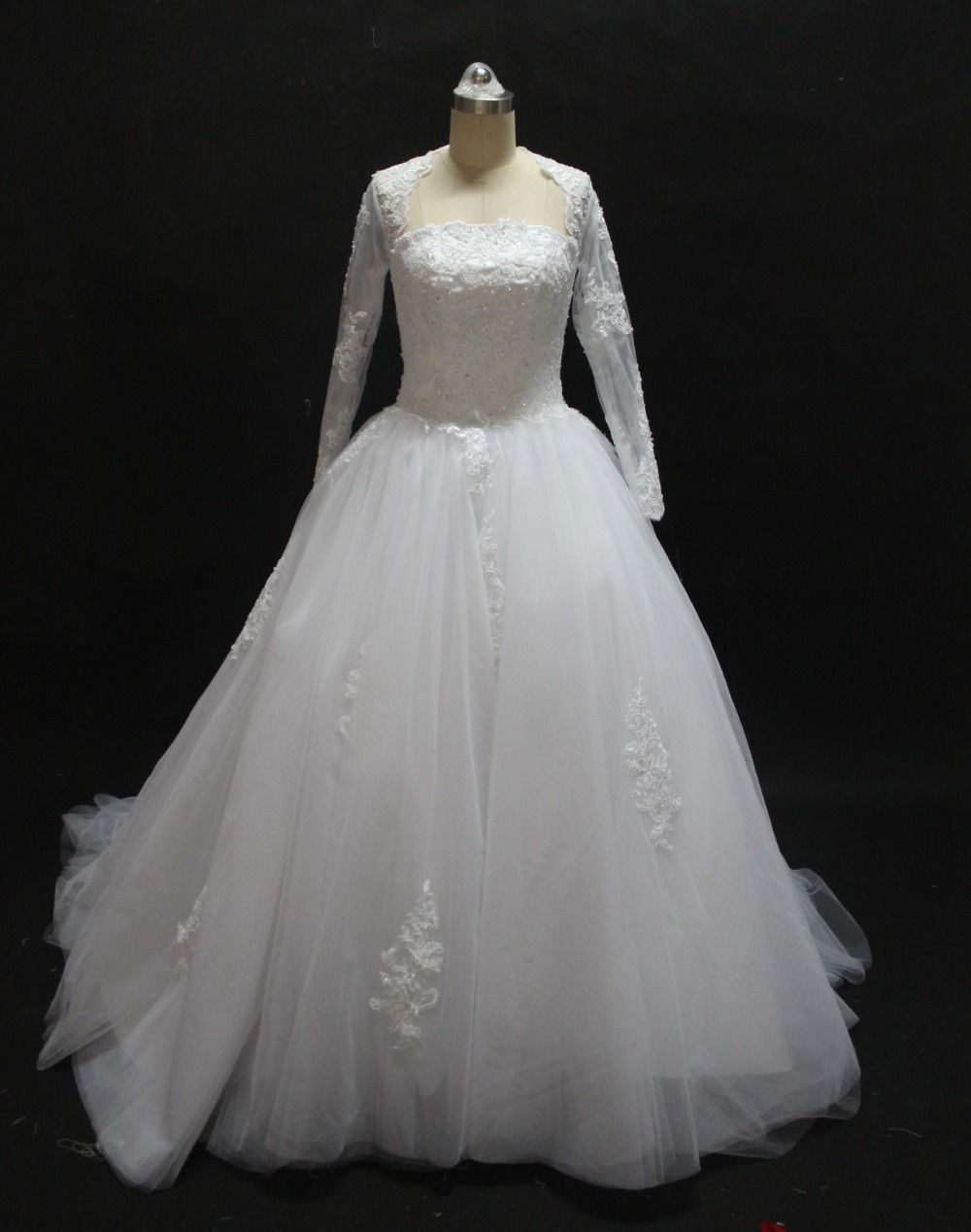 Free shipping long sleeves ball gown wedding dresses vestido de