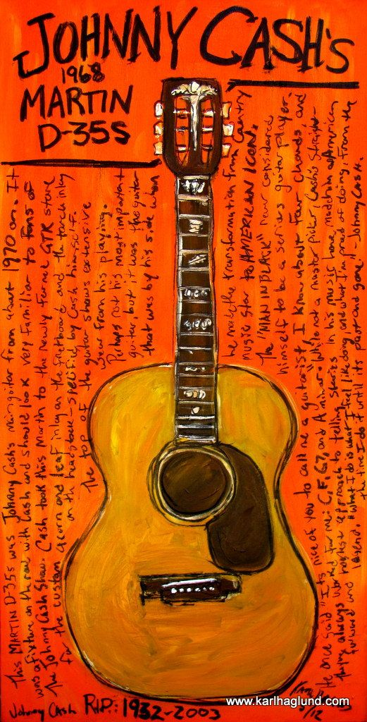Johnny Cash Guitar Poster Martin Acoustic Guitar Art