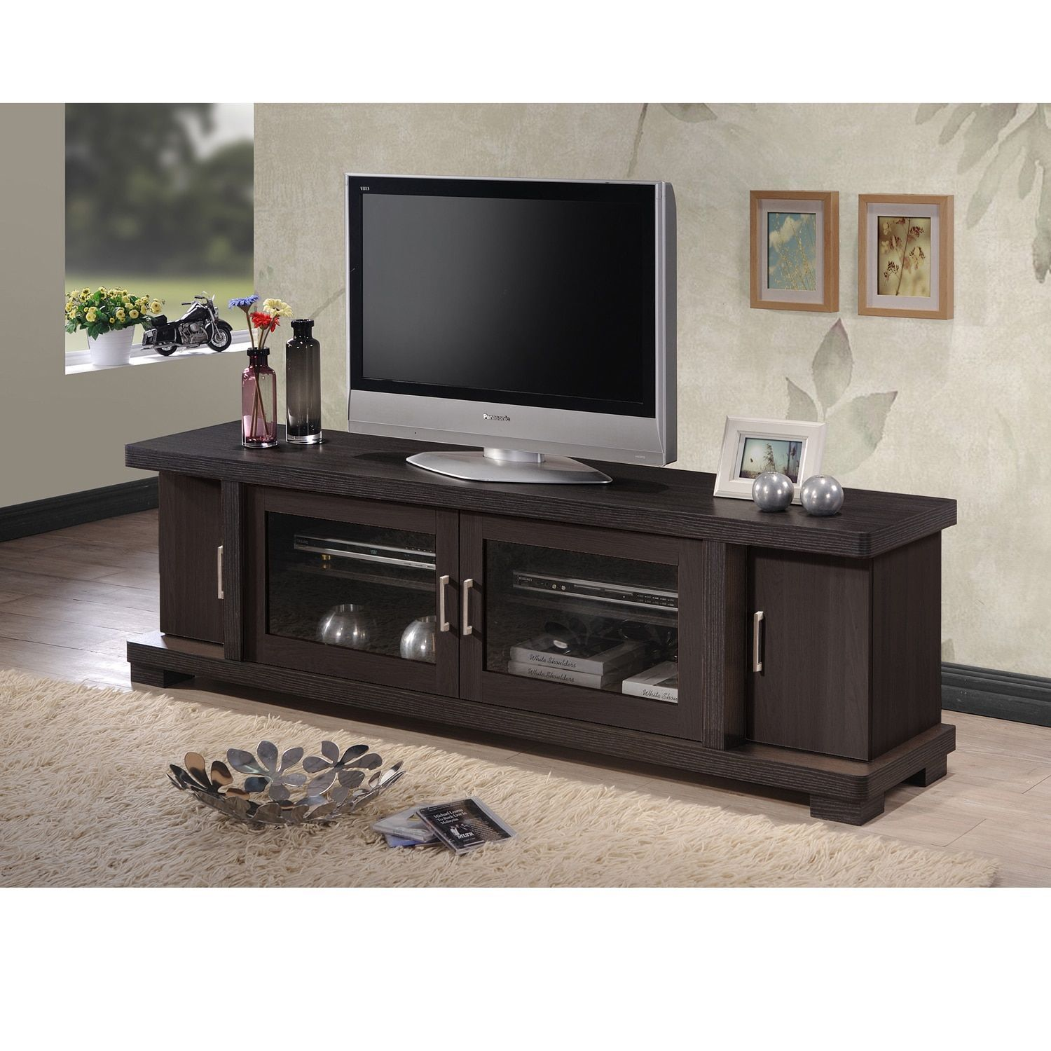 Baxton Studio Vega Contemporary 70 Inch Dark Brown Wood Tv Cabinet With 2 Gl Doors And Stand